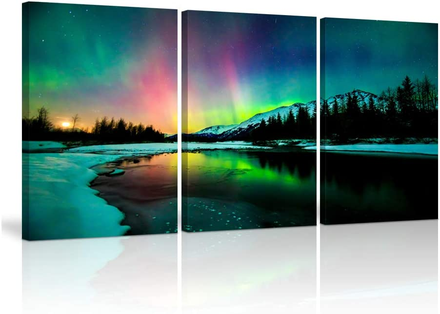 KALAWA Aurora Scenery Painting Print on Canvas Natural Scenery Borealis Iceland Landscape Wall Decor Northern Light Canvas Wall Art For Living Room Framed Ready to Hang (12