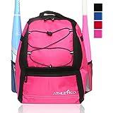 Athletico Youth Baseball Bat Bag - Backpack for Baseball, T-Ball & Softball Equipment & Gear for Boys & Girls | Holds Bat, Helmet, Glove | Fence Hook