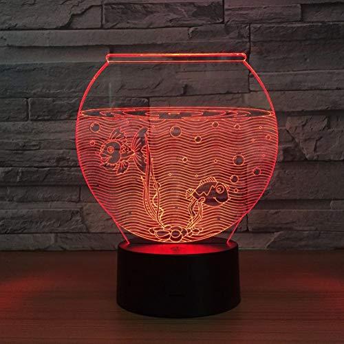 MHXXYD Fish Tank Shape Acrylic 3D Night Light Led Illusion USB Night Light Desk Lamp Home Decor Lamp (Acrylic Aquarium Body)