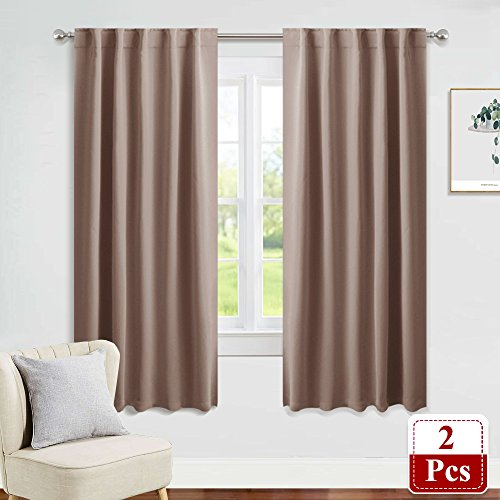 PONY DANCE Blackout Curtain Window Drapes Draperies - Thermal Insulated Home Decoration Back Tab/Rod Pocket Blackout Curtain Panels for Bedroom, 42-inch by 63-inch, Mocha, Set of 2 Thermal Back Drapes