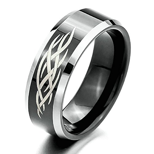 Aooaz Stainless Steel Ring For Men Wavy Stripe TwoTone Silver Black Polished Wedding Ring Bevel Edge US 7 -