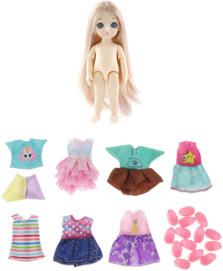 7Set Cloth Outfits Mini Clothings Made for 16cm Height Dolls Clothes