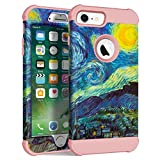 Maxcury Case Compatible for iPhone 6 6s 7 8,Three Layer with Vincent Willem Van Gogh Painting Element for Regular Size iPhone 6 7 8 in 4.7 Inch (The Starry Night - Rose Gold, iPhone 6/6s/7/8)