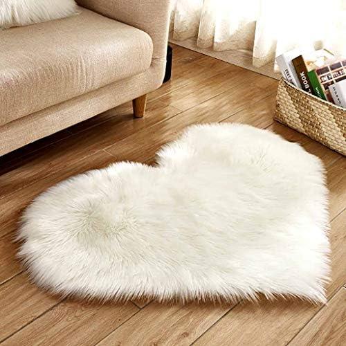 Faux Bont tapijt Super zacht Faux schapenvacht tapijt Hartvorm Seat Pad Home Soft Area Tapijt Pluizige antislip vloermat deken voor woonkamer slaapkamer kinderkamer sofa woondecoratie
