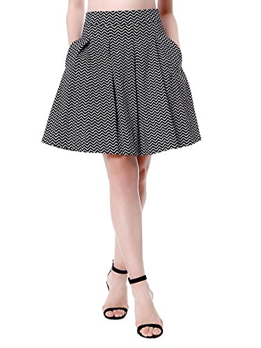 Mixfeer Women's High Waist Wavy Patten A-Line Pleated Midi Skirt With Pockets