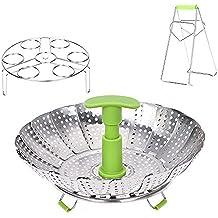 Vegetable Steamer Basket - Steam Rack Basket Set for Instant Pot Pressure Cooker, Food Grade Stainless Steel, Expandable Steam Basket Fit Various Size Pot, Egg Steaming Rack BONUS Hot Plate Bowl Clamp