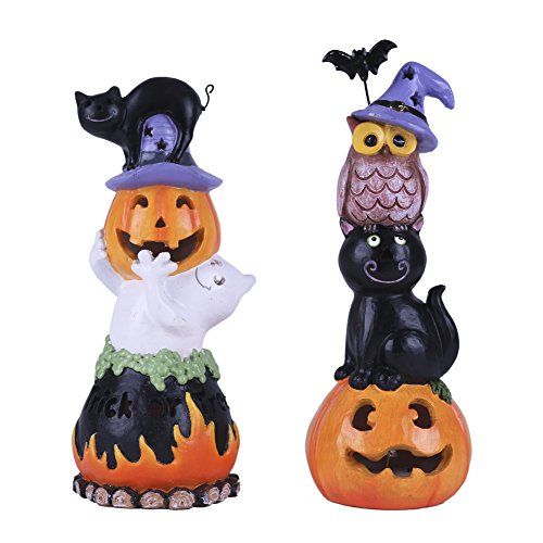 Indoor Halloween Decorations (Valery Madelyn Happy Halloween Decorations Pumpkin, Resin Halloween Figurines with LED Lights for Indoor and Outdoor, Set of 2 for Halloween Party Decoration, 8 Inch)