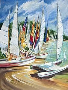Caroline tesoros del JMK1162CHF Oriental orilla veleros bandera lona, grande, Multicolor