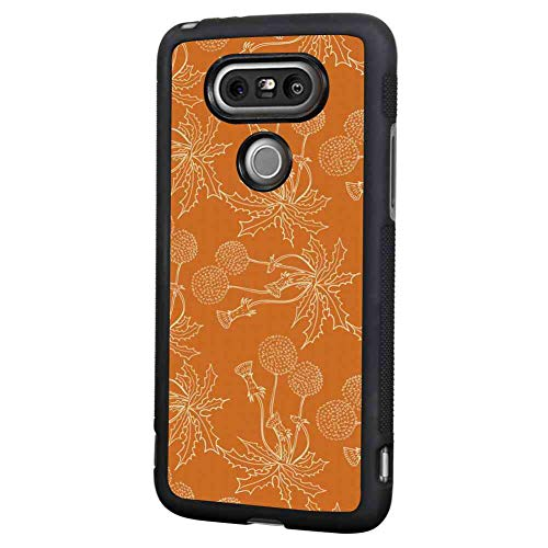 Cell Phone Case Fit for LG G5 (2016) 5.3in Burnt Orange Dandelions Poppies and Wildflowers Silhouettes Romantic Garden Art Burnt Orange and White