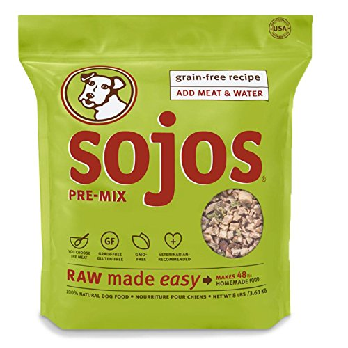 Sojos Pre-Mix Natural Grain Free Dry Raw Freeze Dried Dog Food, 8-Pound Bag