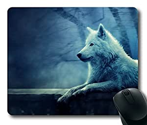 Rectangle mouse pad , White Wolf Sitting and Weeping