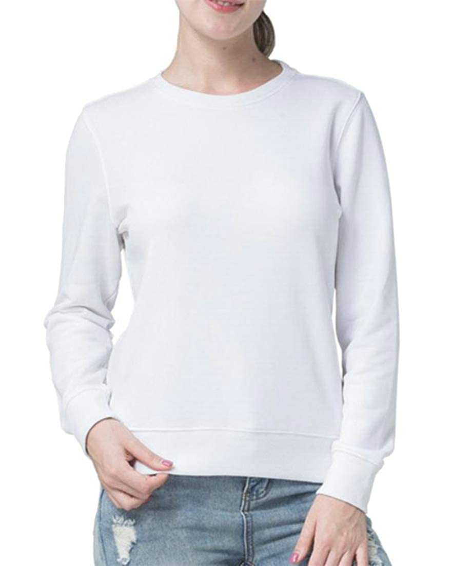 Lutratocro Womens Pure Color Round Neck Classical Tops Autumn Winter Pullover Long Sleeve Sweatshirts