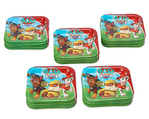 7 Dessert Square Plates (Nickelodeon American Greetings PAW Patrol Square Plate (40 Count), 7