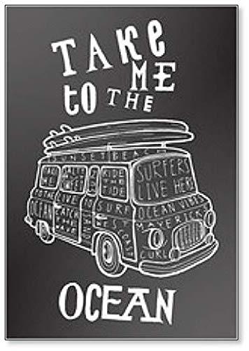 Take Me to the Ocean. Imán para nevera, diseño de tiza con ...