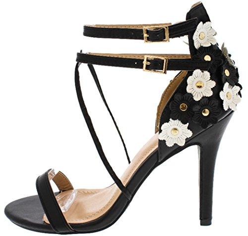 4 Inch Strappy Black Gold Rhinestone Flower Floral High Heel Sandal For Women (8.5, (Chloe Strappy Sandals)