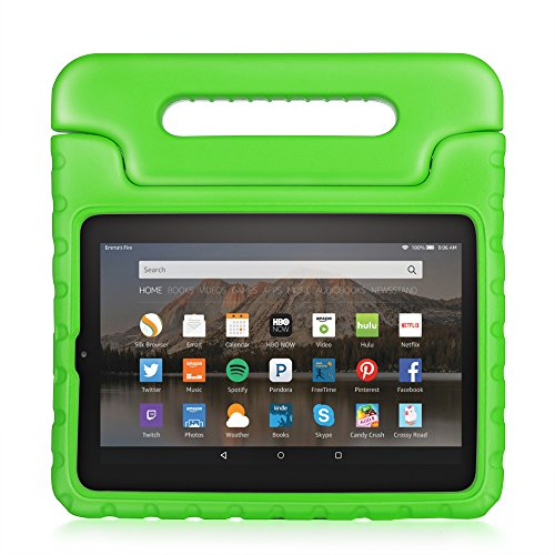 Price comparison product image TNP Fire HD 6 Case - Kids Shock Proof Soft Light Weight Childproof Impact Drop Resistant Protective Stand Cover Case with Handle for Amazon Fire HD 6 Inch Tablet 2014 Release (Green)