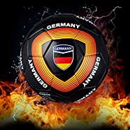 Machine Stitch Soccer Ball for Girls and Boys Training Ball Size 5(Black) with Germany Country Name Official M