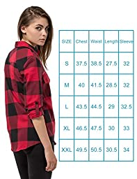 Women\'s Plaid Flannel Shirt Red & Black Checkered Long Sleeve Cotton Shirts L