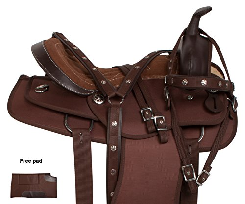 AceRugs NEW MULE BARS BROWN CORDURA WESTERN PLEASURE TRAIL ENDURANCE LIGHT WEIGHT MULE SADDLE TACK SET 14 15 16 17 18 (17) (Saddle Trail Mule)