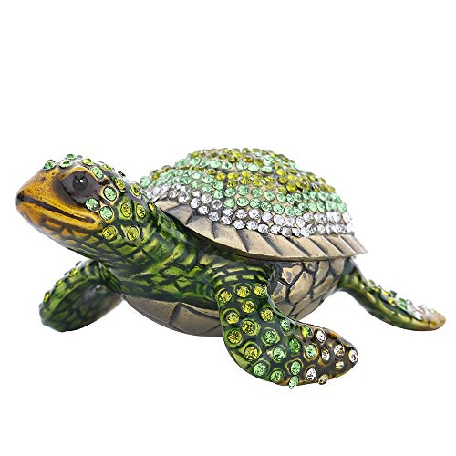 Limoges Fish - Sea Turtle Crystal Studded Pewter Jewelry Trinket Box,Diamond Turtles Hinged Trinket Box Hand-Painted Animal Figurine Collectible (Green)