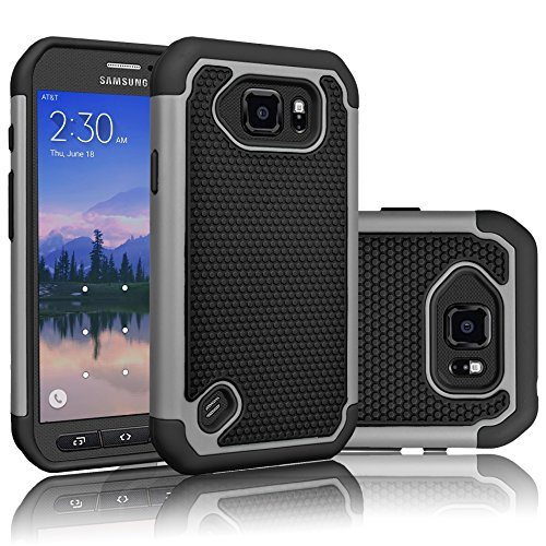 Galaxy S6 Active Case, Tekcoo(TM) [Tmajor Series] [Grey/Black] Shock Absorbing Hybrid Rubber Plastic Impact Defender Rugged Slim Hard Case Cover Shell for Samsung Galaxy S6 Active at&T SM-G890