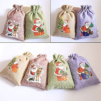 Weihnachtsmann Stoffs/äckchen anh/ängers/äckchen lavendels/äckchen DAHI 24 St/ück Adventskalender jutes/äckchen zum Bef/üllen 10cmx14cm