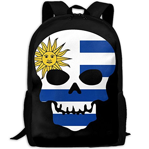 CY-STORE Skull Skeleton Uruguay Flags Of Countries Outdoor Shoulders Bag Fabric Backpack Multipurpose Daypacks For Adult by CY-STORE