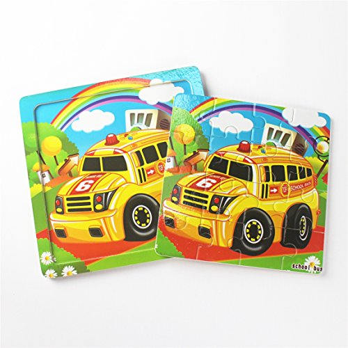 Wooden Toy Trucks For 3 Year Old : Meshion wooden jigsaw puzzles with storage tray vehicle