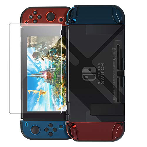 Dockable Case for Nintendo Switch [Updated],FYOUNG Protective Accessories Cover Case for Nintendo Switch and Nintendo Switch Joy-Con Controller with a Tempered Glass Screen Protector - Clear Black