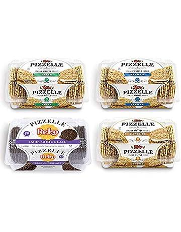 Reko Pizzelle Cookies 4 Flavor Samplers - Anise, Dark Chocolate, Caramel, Vanilla (