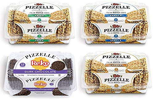 Reko Pizzelle Cookies 4 Flavor Samplers - Anise, Dark Chocolate, Caramel, Vanilla (4 Pack) by Reko