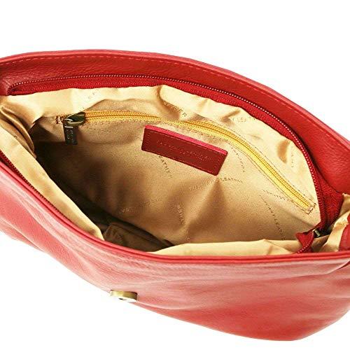 cuir Lipstick avec souple bandoulière LEATHER Sac TL Rouge besace TL141223 en Bag TUSCANY pompon HTg07w