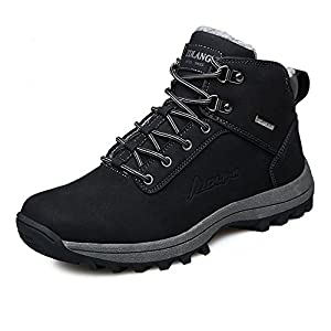 YZHYXS Mens Leather Work Boots Black Waterproof Hiking Boots For Men Size 9 (572black43)