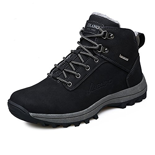 YZHYXS Male Boots Winter Black PU Leather Mens Snow Boots Waterproof Fashion Outdoor Hiking Shoes Size 11 (572black46) (Waterproof Winter Shoes)