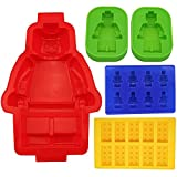 WQYK Building Bricks&minifigure Silicone Mold in Four Different Sizes.including 1 Large Figure Silicone Cake Mold&2 Medium-sized Figure Silicone Cake or Jelly Mold&1 Minifigure&1 Building Bricks Ice Cube Tray or Candy,jelly &Chocolates Silicone Mold