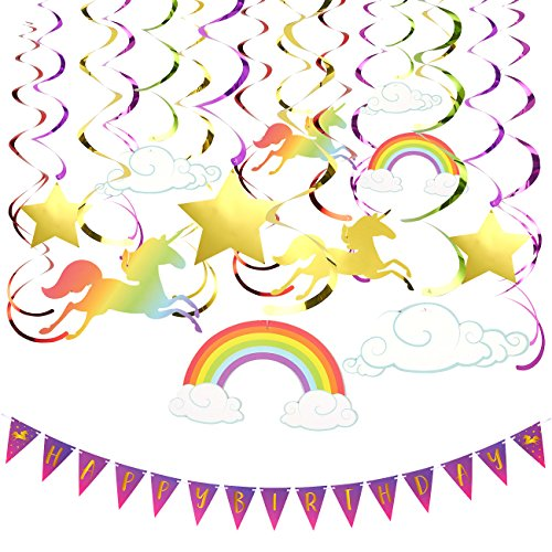 Birthday Party Banners - 1 Pack of 30-Count Swirl Decorations - Unicorn Party Decorations, Ceiling Streamers, Multicolored, 36.5 Inches