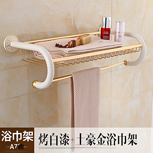 Yomiokla Bathroom Accessories - Bathroom Metal Towel Ring Continental kit from punch antique white paint-hook and gold ornaments racks ivory paint + Earth Ho Kim Order (Order Ho Kit)