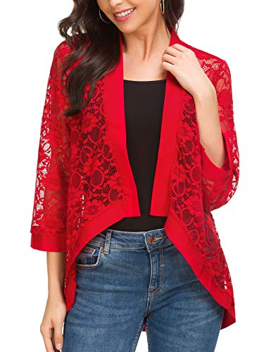 ROOSEY Women's Open Stitch Crochet Lace Cardigan Red (Beach Red Stitch)