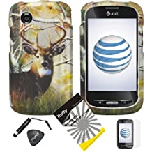 4 items Combo: ITUFFY (TM) LCD Screen Protector Film + Mini Stylus Pen + Case Opener + Pine Tree Leaves Deer Camouflage Outdoor Wildlife Design Rubberized Snap on Hard Shell Cover Faceplate Skin Phone Case for At&t ZTE Avail Z990 (1st Generation only) / ZTE Merit 990G (Straight Talk , Net10)