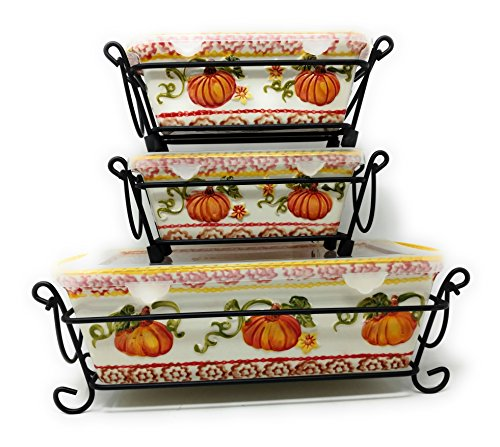 Temp-tations Set of 3 Loaf Pans w/Plastic Covers & Wire Racks, Stoneware (Old World Pumpkin)