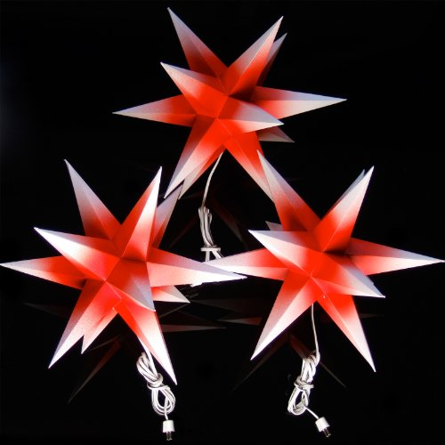 Papiersterne Weihnachtsbeleuchtung.3er Set Beleuchtete Sterne Aus Papier Rot Mit Weißen Spitzen 3d Weihnachtssterne Fürs Fenster Bockelwitzer Stern Art Nr 206 Inkl Netzteil Mit