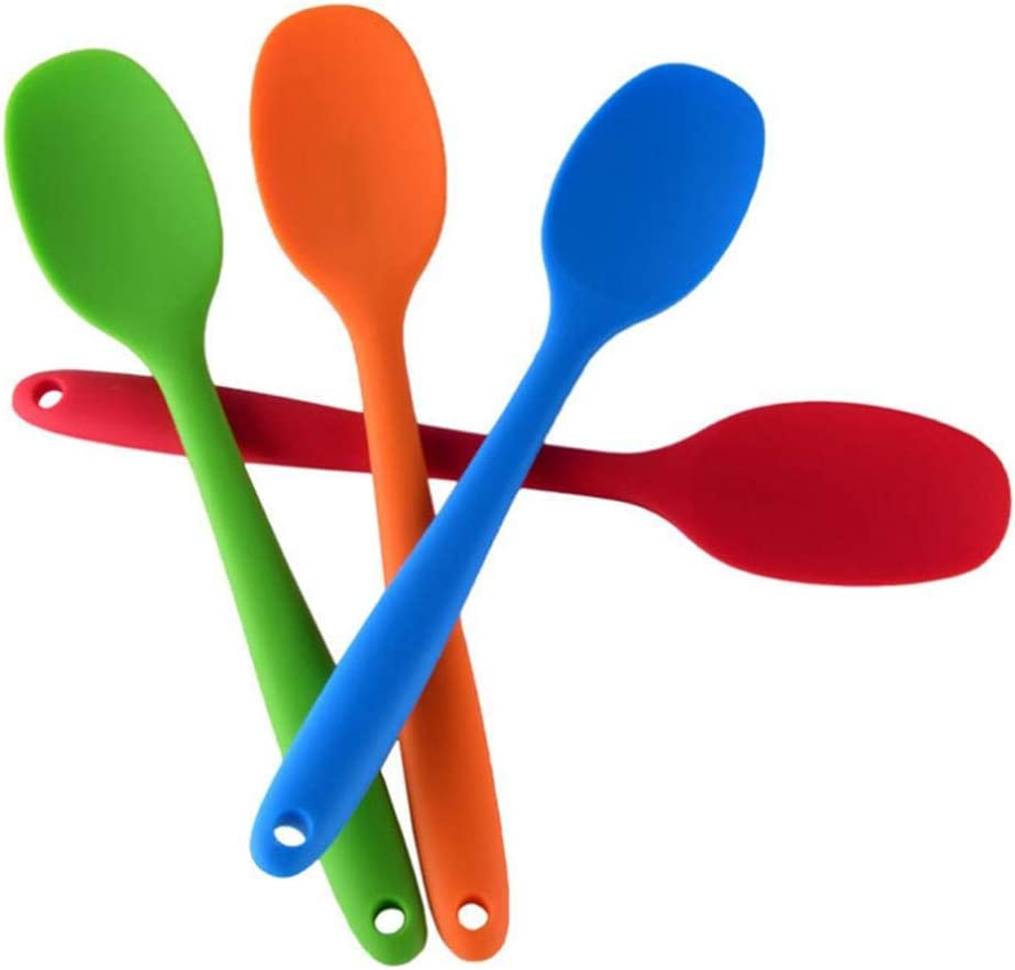 Basics Silicone Mixing Spoon Silicone Spatula Spoon Cooking Serving Spoon with Long Handle and Hanging Loop 4 pcs//Random Color for Mixing /& Serving Kitabetty Silicone Serving Spoon