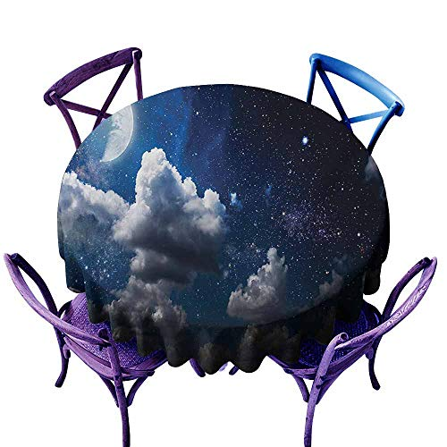 Resistant Table Cover,Clouds Celestial Solar Night Scene Stars Moon and Clouds Heaven Place in Cosmos Theme,Party Decorations Table Cover Cloth,43 INCH,Dark Blue -