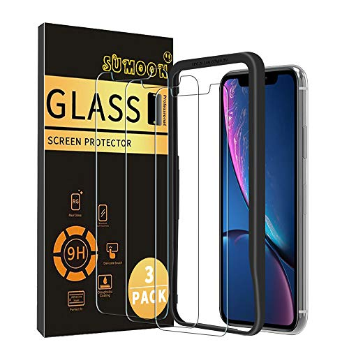 (SUMOON Tempered Glass iPhone Screen Protector for iPhone XR, [3 Pack] 2.5D Arc [Anti-Scratch] [3D Touch] Easy Installation Case-Friendly Design for iPhone XR [6.1inch] 2018 )