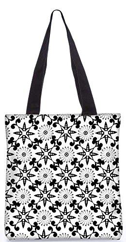 """Snoogg Weißen Blumen Schwarze Tragetasche 13,5 X 15 In """"Shopping-Dienstprogramm Tragetasche Aus Polyester Canvas"""