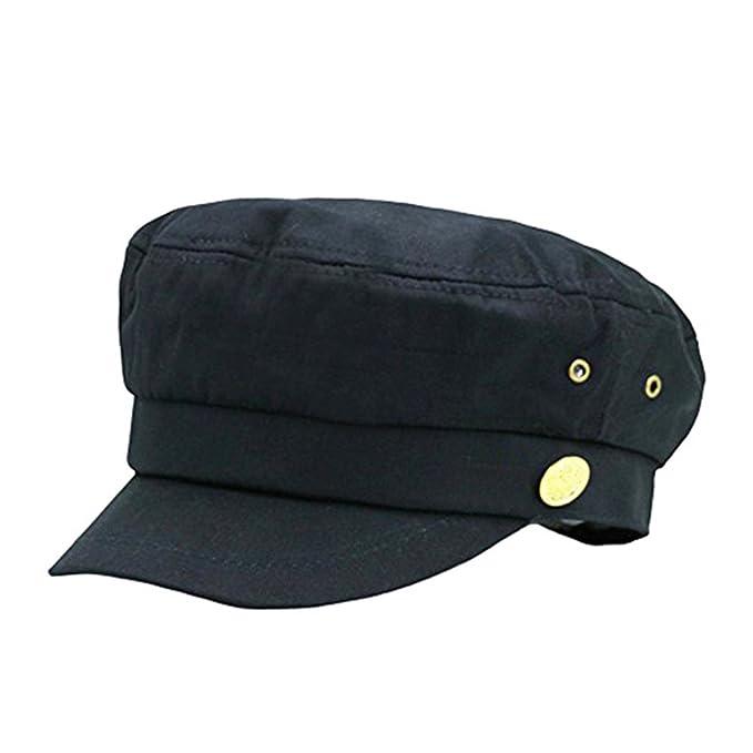 027686c84fa Fitted Army Cap Men Women Unisex Captain Hats Retro Style Plain Flat Caps  Hat Balck