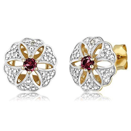 Rhodolite Garnet & Accent Diamond 18K Yellow Gold Plated Silver Stud Earring (0.24 cttw, 3MM Round - Accents Rhodolite Garnet