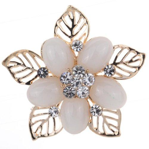Yazilind bijoux elegant decoupe fleur blanche en cristal de marqueterie plaque or Eve broches et epingles