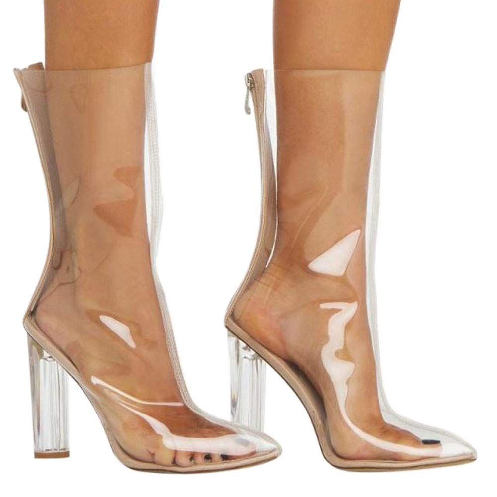 Hinyyrin Women's Booties Open Toe Block Chunky Clear Perspex Heel Ankle Boot Mid Calf Boots Nude Size 8