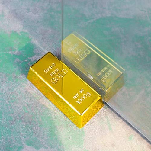 FUTUREPLUSX Gold Bar Door Stop, Fake Gold Bar Paperweight Gold Bullion Door Stopper Glittering Gold Brick Decorations
